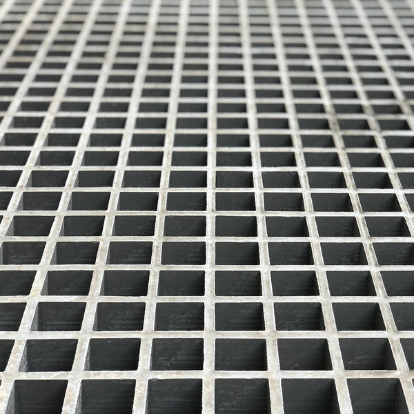 "Square Mesh Grating, 1"" Thick, 1-1/2"" Square, Meniscus Surface, Light Gray, Vinyl Ester Resin"