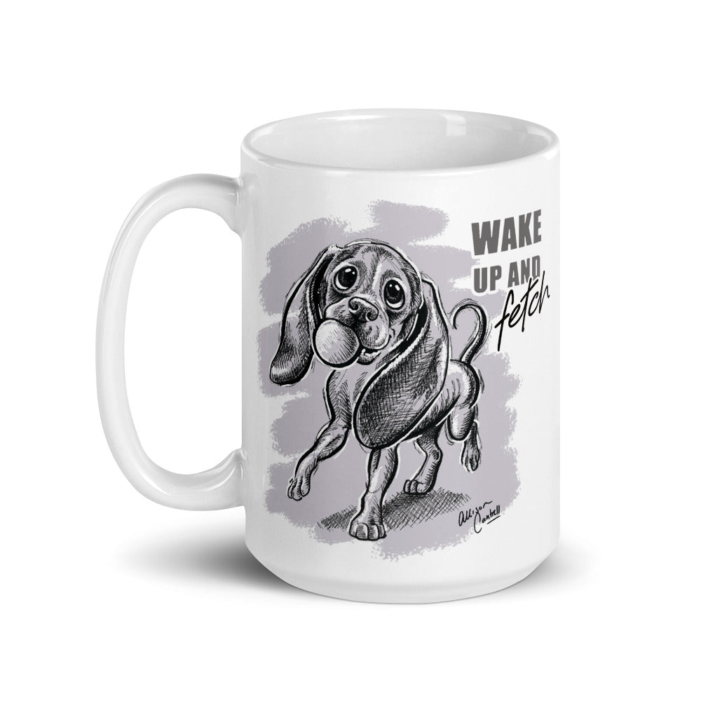 "Hound Pup ""Wake Up and Fetch"" Mug"