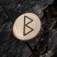 Load image into Gallery viewer, Berkana rune in hazel wood, hand-engraved in pyrography Misty Stroll