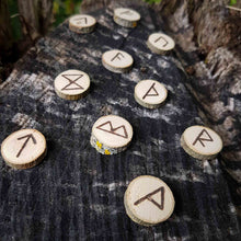 Load image into Gallery viewer, Willow wood Elder Futhark rune set hand-engraved in pyrography Misty Stroll