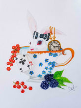 "Load image into Gallery viewer, A5 print ""White rabbit"" Misty Stroll by Pauline Scarangella"
