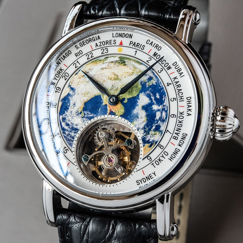 Tourbillon Watch Men Alligator