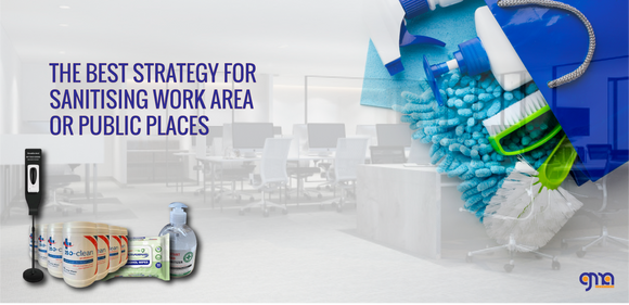What is the best strategy for sanitising work area or public places?