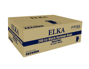 Elka 240L Heavy Duty Black Garbage Bags Carton of 100 (Roll)