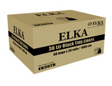 Elka 36L Black Tidy Liners on Rolls Carton of 1000 (Roll)