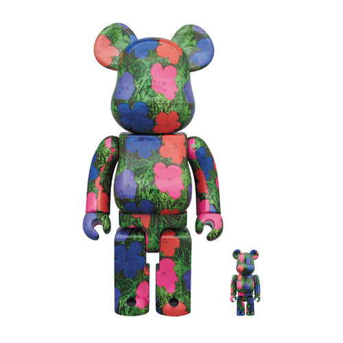 Bearbrick-andy-warhol-flowers-2020-medicom-400-100-set-Limn-Gallery-nz