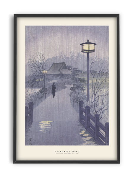 Kasamatsu Shiro - Night Rain at Shinobazu Pond