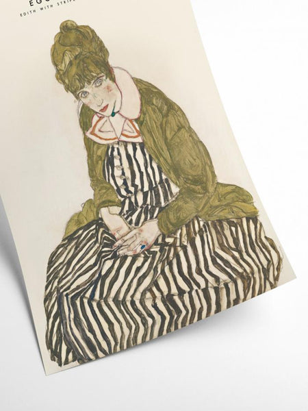 Egon Schiele - Edith with striped dress