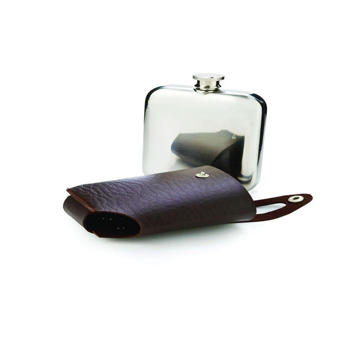 Leather & Stainless Steel Flask - GiftBasket.com - Branded