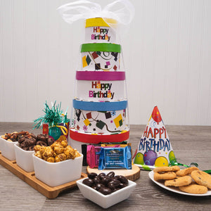 Birthday Snack Attack Gift Tower - GiftBasket.com - Gift Tower