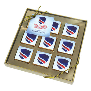 Nine Piece Chocolate Foiled Square Gift Box - GiftBasket.com - Promotional