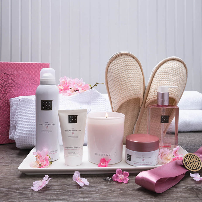 Cheerful Cherry Blossom Luxury Spa Gift Basket