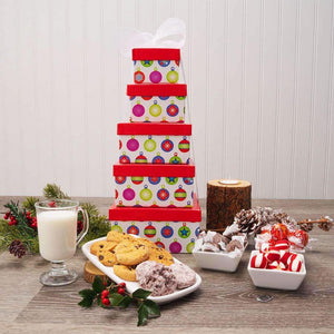 Colorful Holiday Greetings Gift Tower
