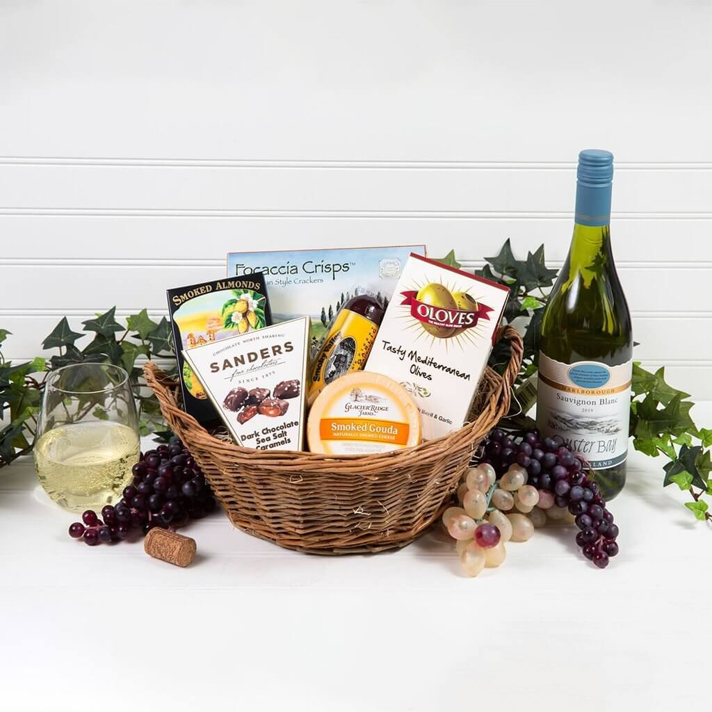 A Day at The Vineyard White Wine Gift Basket - GiftBasket.com - Gift Basket