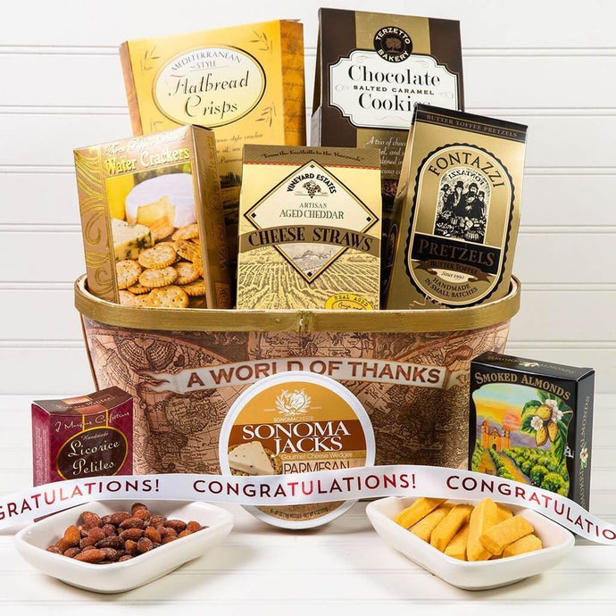 A World of Thanks! Congratulations Gift Basket - GiftBasket.com - Gift Basket