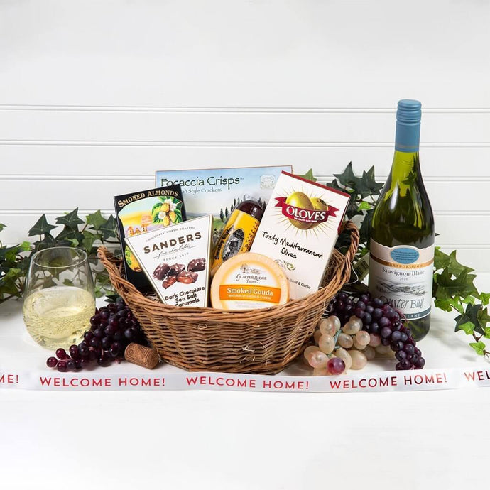 A Day at The Vineyard Welcome Home White Wine Gift Basket - GiftBasket.com - Gift Basket