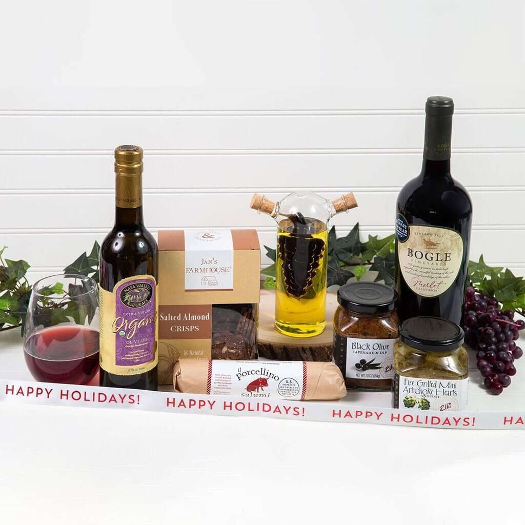 A Taste of Italy Happy Holidays Red Wine Gift Set - GiftBasket.com - Gift Set