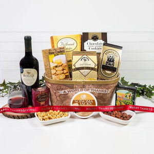 A World of Thanks! Happy Thanksgiving Red Wine Gift Basket - GiftBasket.com - Gift Basket