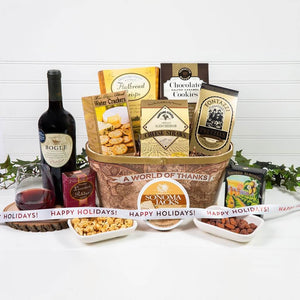 A World of Thanks! Happy Holidays Red Wine Gift Basket (HCL Private Exclusive Offer) - GiftBasket.com - Private Offer