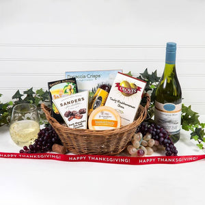 A Day at The Vineyard Happy Thanksgiving White Wine Gift Basket - GiftBasket.com - Gift Basket