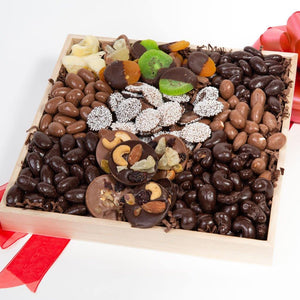 Spectacular Belgian Chocolate Covered Dried Fruit and Nut Gift Tray - GiftBasket.com - Gift Box