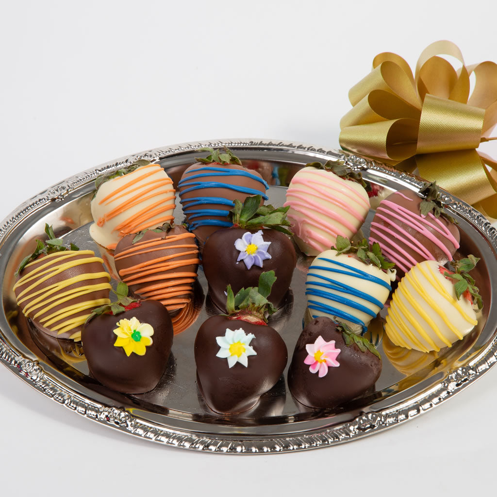 Elegant Flowers Belgian Chocolate Covered Strawberries - GiftBasket.com - Gift Box
