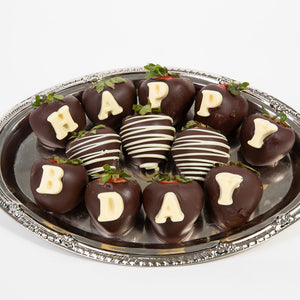 Happy B-Day BERRY-GRAM® Belgian Chocolate Covered Strawberries - GiftBasket.com - Gift Box