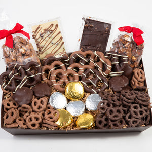 Sensational Belgian Chocolate Covered Snack Tray - GiftBasket.com - Gift Box