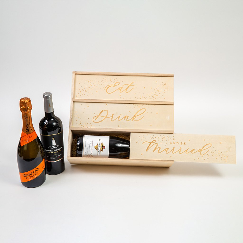 Eat, Drink and Be Married Red White Wine Gift Box - GiftBasket.com - Gift Set
