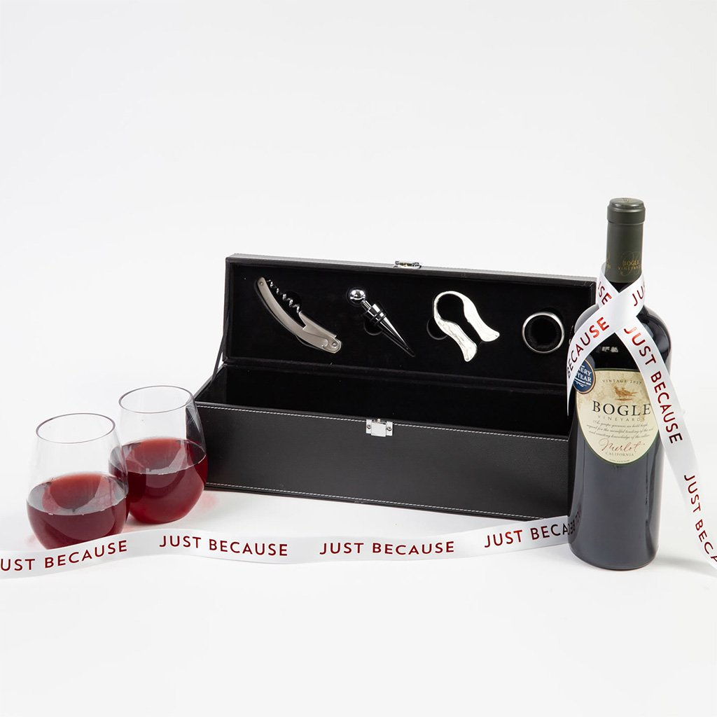 For the Love of Wine Red Wine Just Because Gift Set - GiftBasket.com - Gift Set