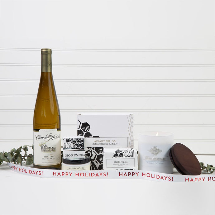 Vanilla Spa Relaxation Happy Holidays Wine Gift Set