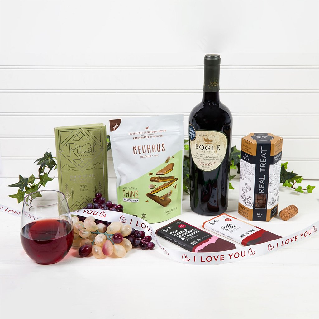 Red Wine & Chocolate Decadence - I Love You! - GiftBasket.com - Gift Set