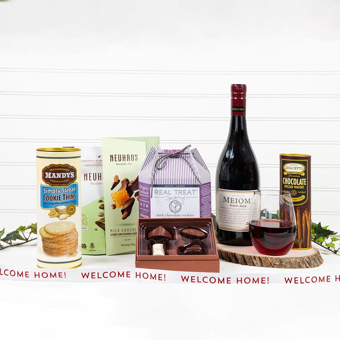 Cookie, Chocolate and Red Wine Decadence - Welcome Home! - GiftBasket.com - Gift Set