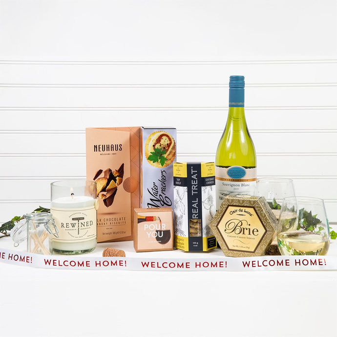 Welcoming White Wine Gift Basket - Welcome Home! - GiftBasket.com - Gift Basket