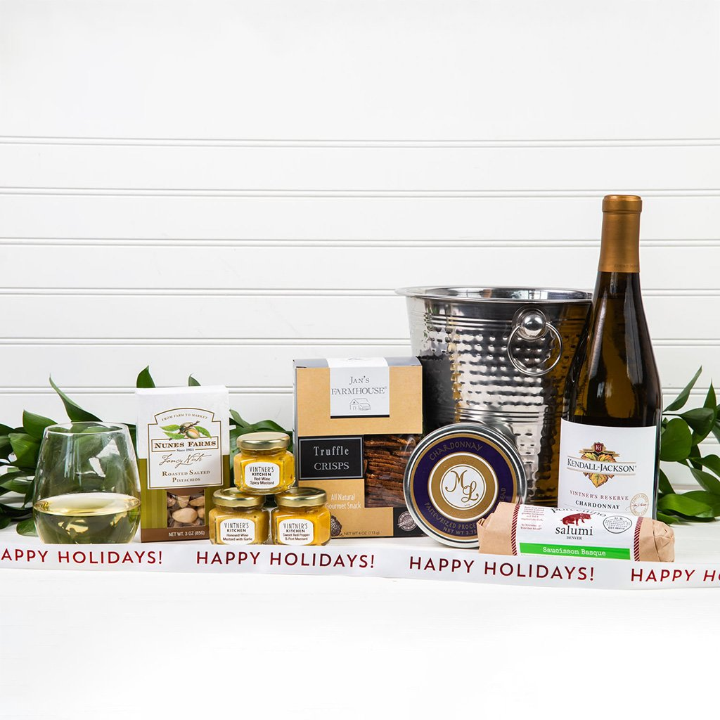 Chill the White Wine Happy Holidays Gift Set - GiftBasket.com - Gift Set