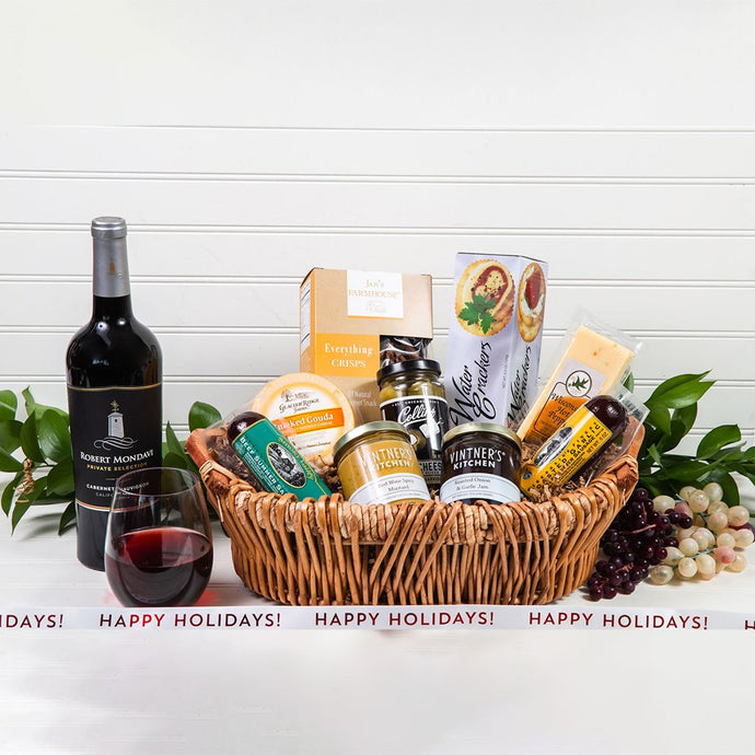 Savory Happy Holidays Wine Gift Basket
