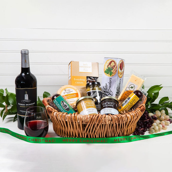 Savory Merry Christmas Wine Gift Basket