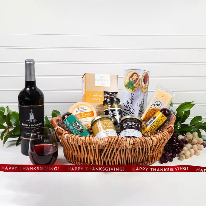 Savory Happy Thanksgiving Wine Gift Basket