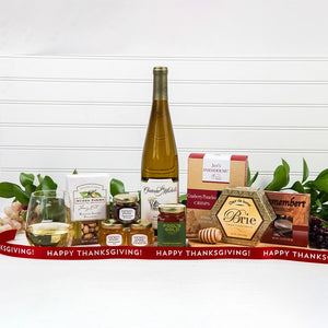 Honey Pass the Cheese Happy Thanksgiving White Wine Gift Set - GiftBasket.com - Gift Set