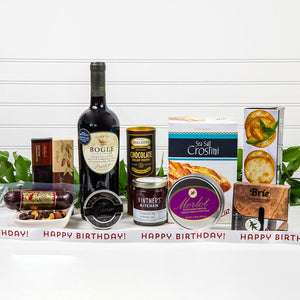 Decadent Red Wine & Cheese Happy Birthday Basket - GiftBasket.com - Gift Basket