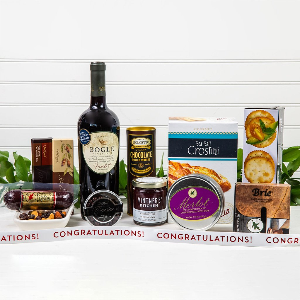 Decadent Red Wine & Cheese Congratulations Basket - GiftBasket.com - Gift Basket