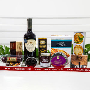 Decadent Wine & Cheese Happy Thanksgiving Basket