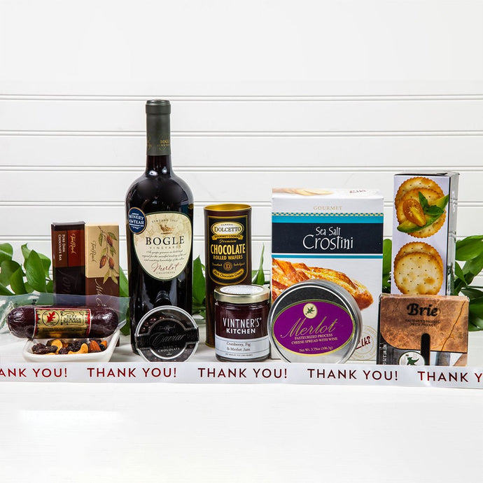 Decadent Red Wine & Cheese Thank You Basket - GiftBasket.com - Gift Basket