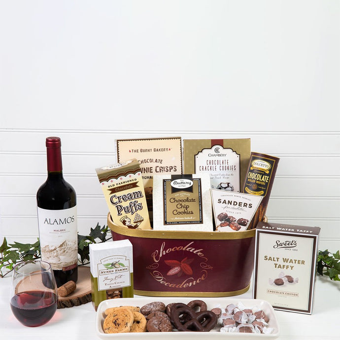 Deliciously Decadent Chocolate Wine Gift Basket