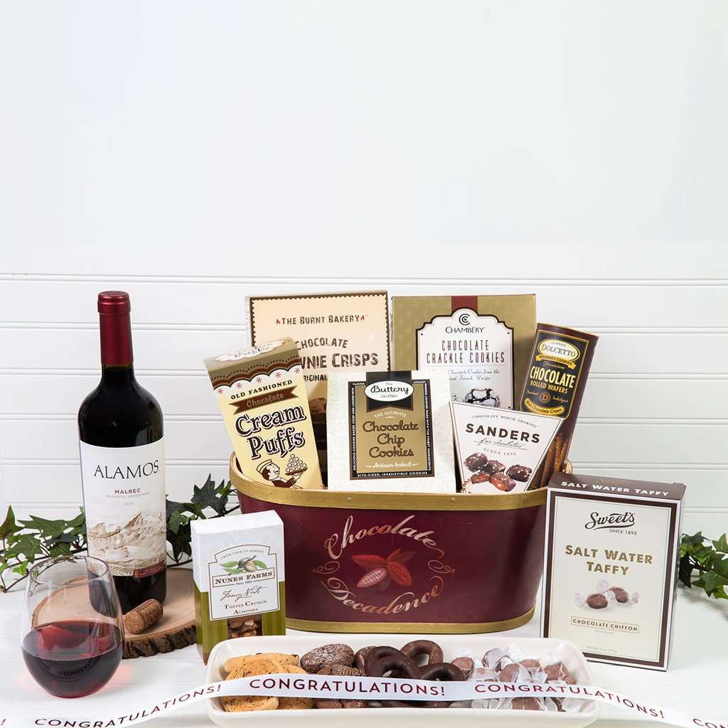 Deliciously Decadent Chocolate Congratulations Red Wine Gift Basket - GiftBasket.com - Gift Basket