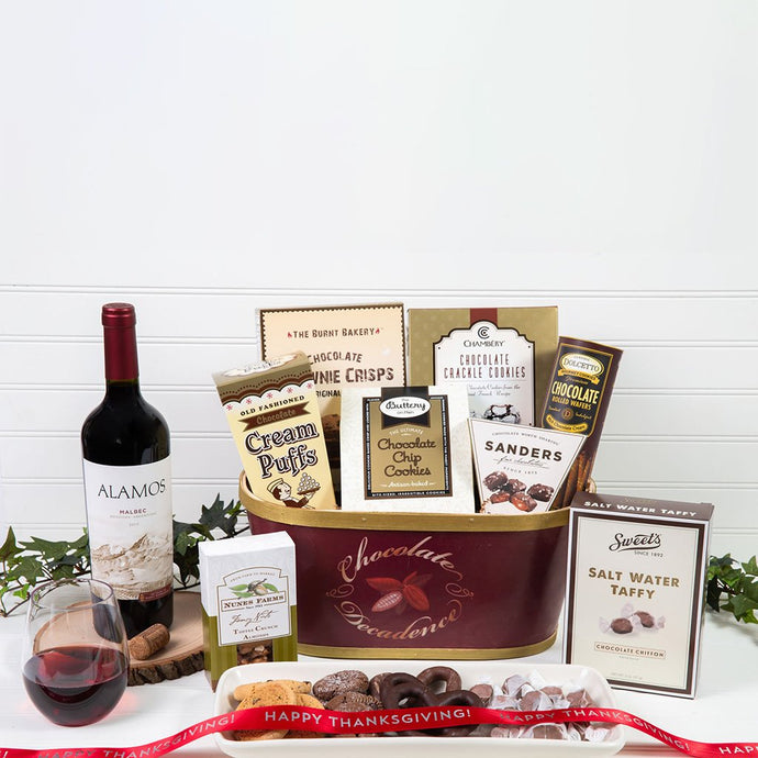 Deliciously Decadent Chocolate Happy Thanksgiving Wine Gift Basket