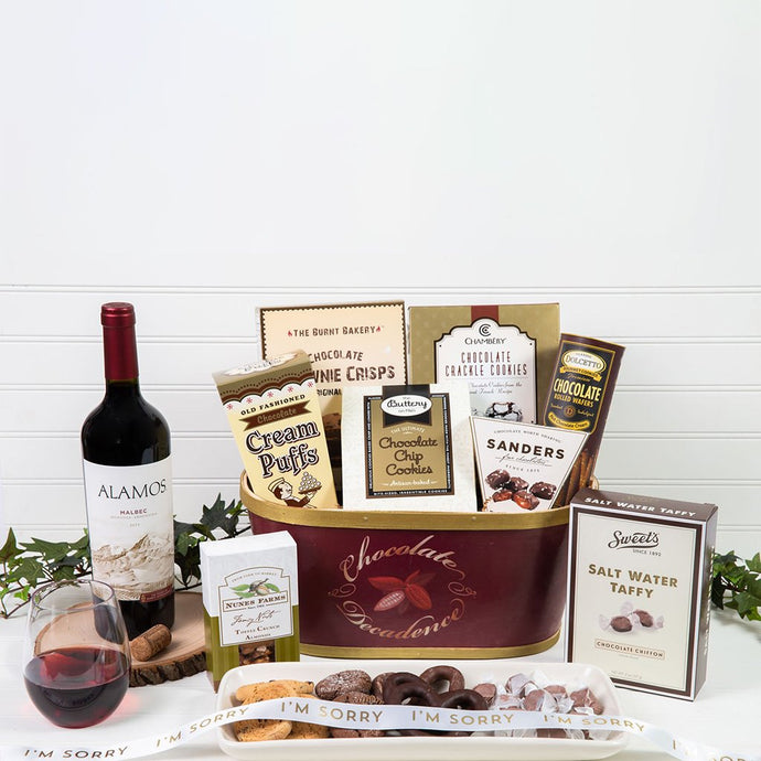 Deliciously Decadent Chocolate I'm Sorry Red Wine Gift Basket - GiftBasket.com - Gift Basket