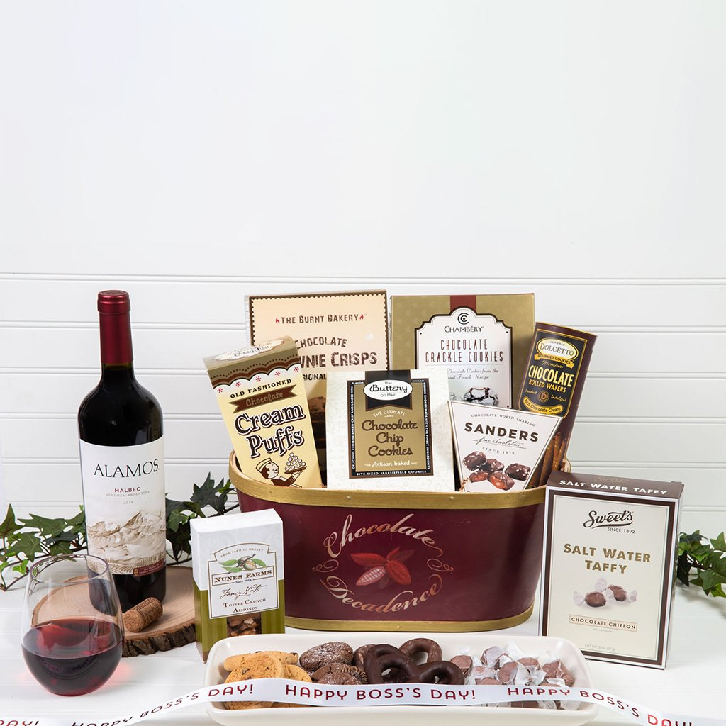 Deliciously Decadent Chocolate Happy Boss' Day Wine Gift Basket