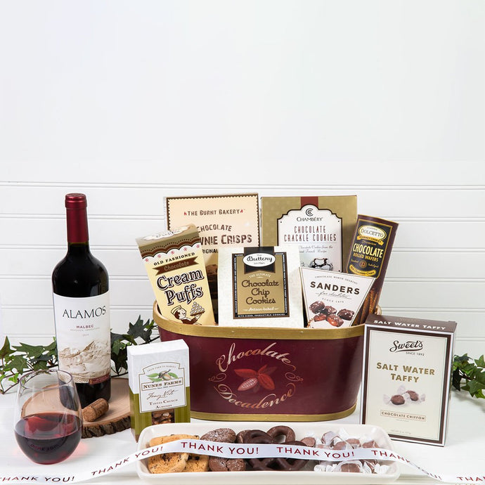 Deliciously Decadent Chocolate Thank you Wine Gift Basket