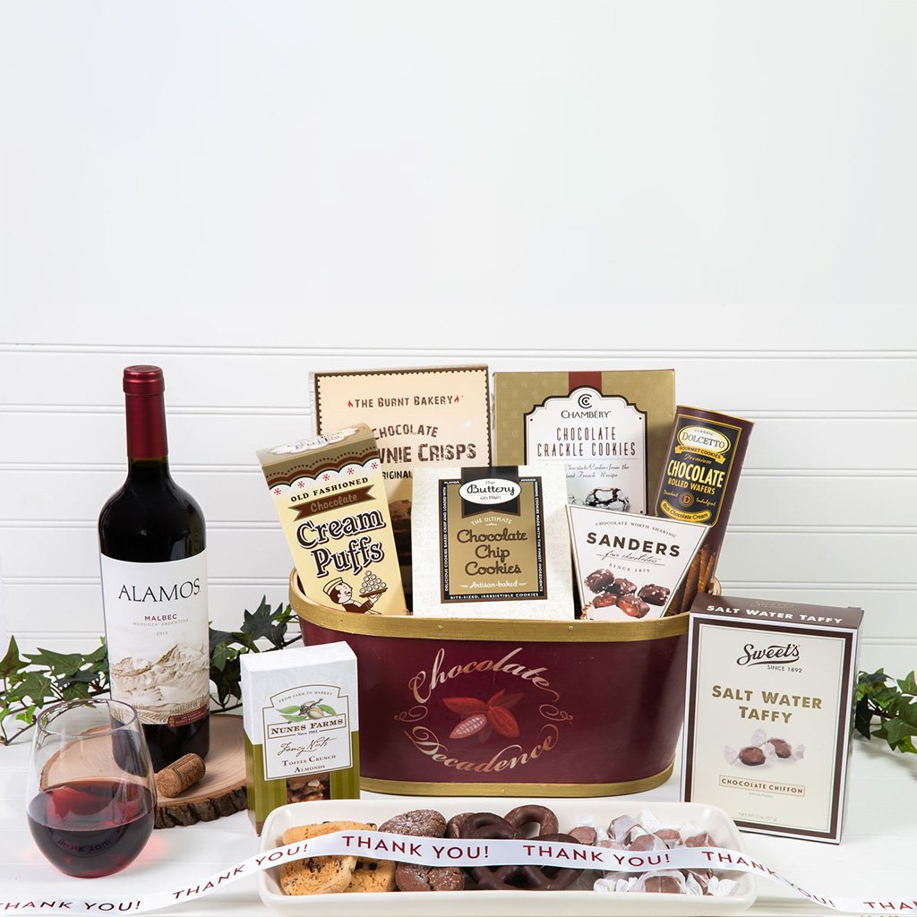 Deliciously Decadent Chocolate Thank You Red Wine Gift Basket - GiftBasket.com - Gift Basket
